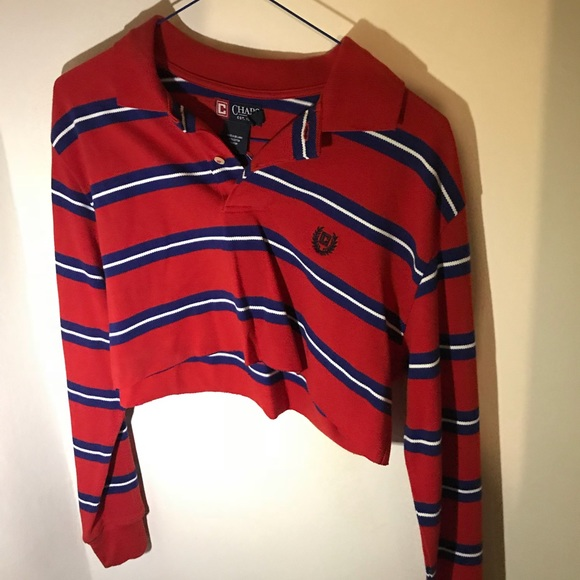 a3bbb60d Chaps Tops | Vintage Long Sleeve Polo Crop Top | Poshmark